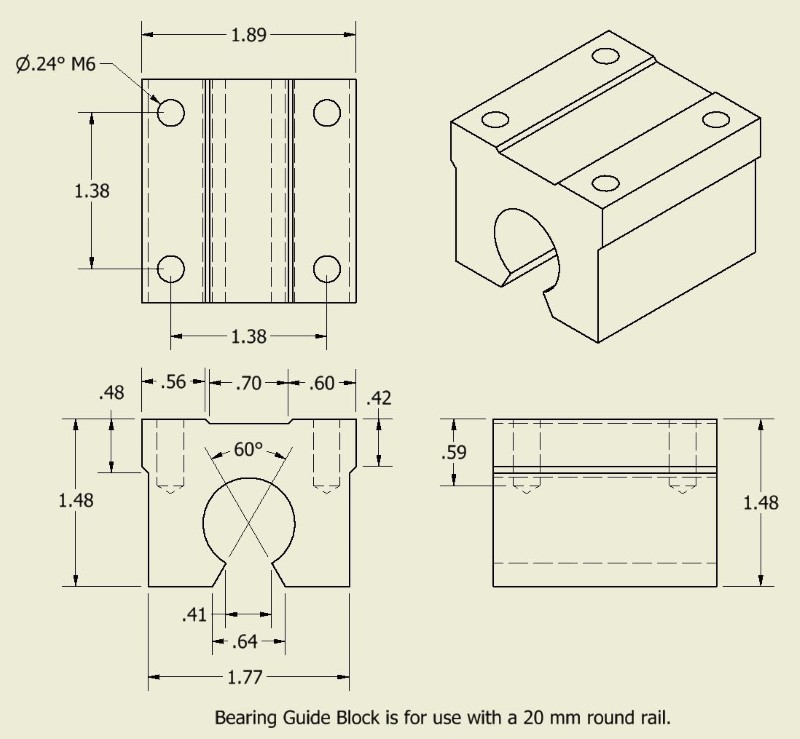 Linear bearing guide block drawing and dimensions for 20 mm round rail