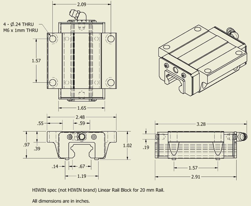 HIWIN Spec Linear Guide Block drawing and dimensions for 20 mm rail