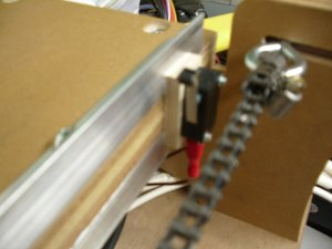 The limit switch position on the x-axis for Roy Aylett's blueChick cnc machine