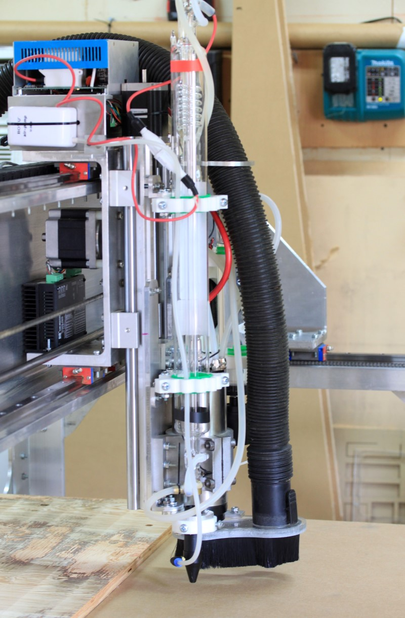 FAbricator pro CNC Router view of the z axis with the CO2 laser attached