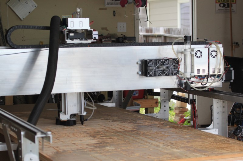 Fabricator Pro CNC Router view of the back of the gantry.  The cooling water pump and fan and radiator and the power supplies can be seen in this view.