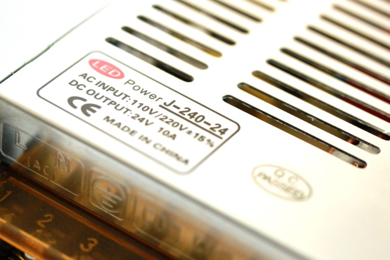 specifications sticker on top of the 24 volt 10 amp power supply AC input 110v/220V DC output: 24V 10A