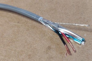 22/2 Shielded Stranded Cable with insulation removed