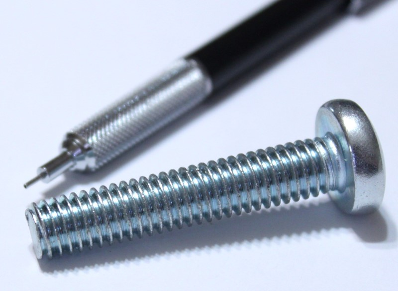 3/8 inch x 2 inch screw shown with mechanical pencil for scale
