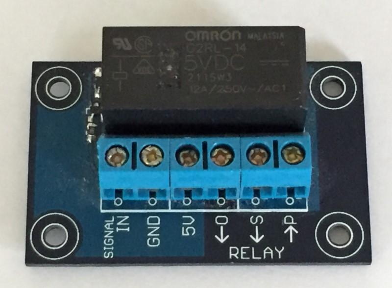 Close up of 5V 250V 12A relay board