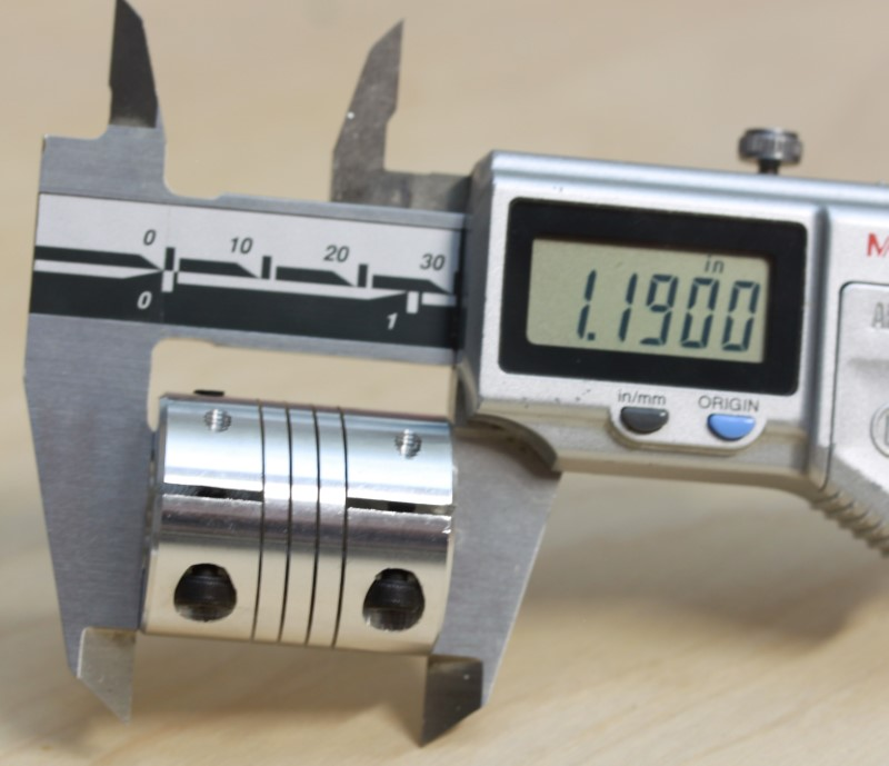 Caliper measurement of the length at 1.19 inches of the 1/4