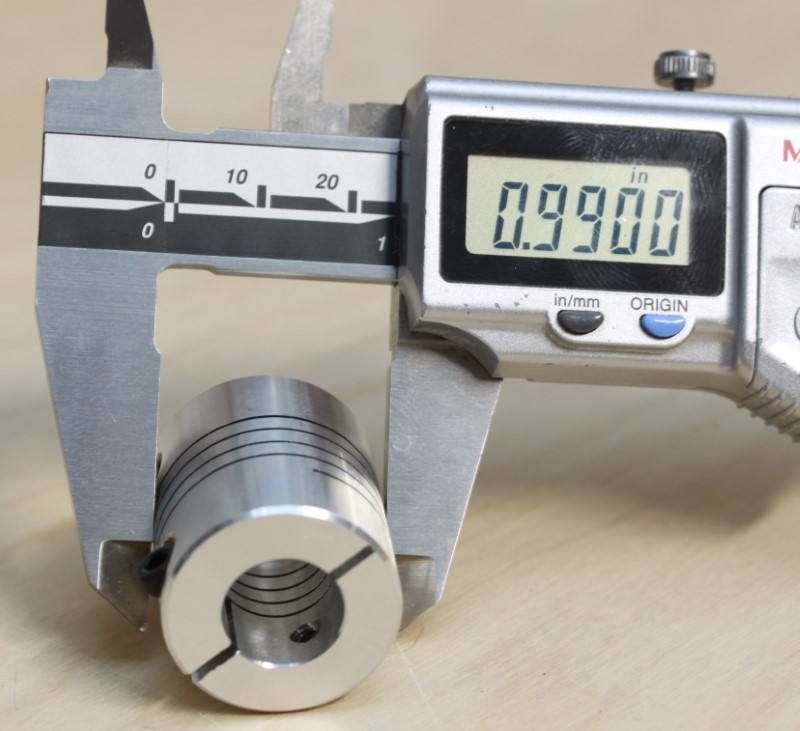 Caliper measurement of the outside diameter at 1 inch of the 1/4