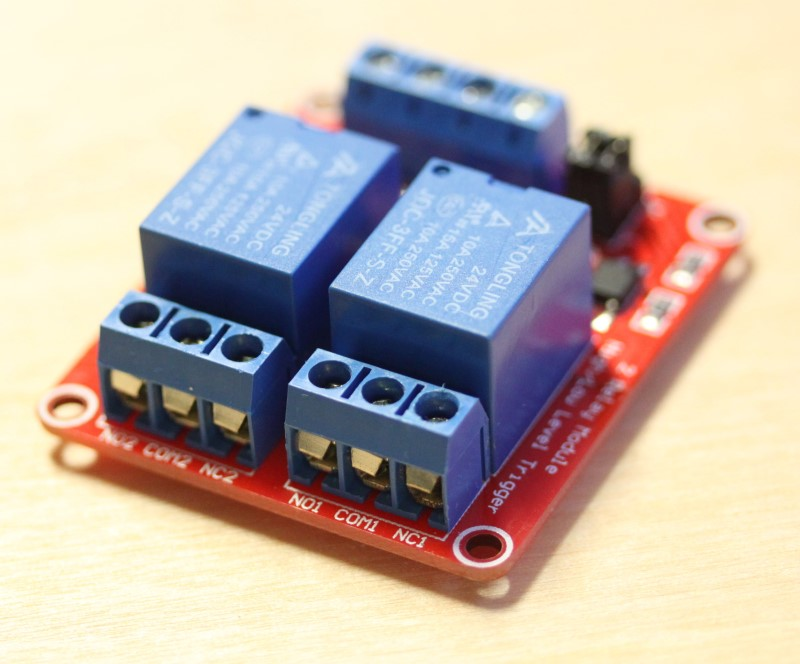 View of the output side of the 24VDC dual relay module