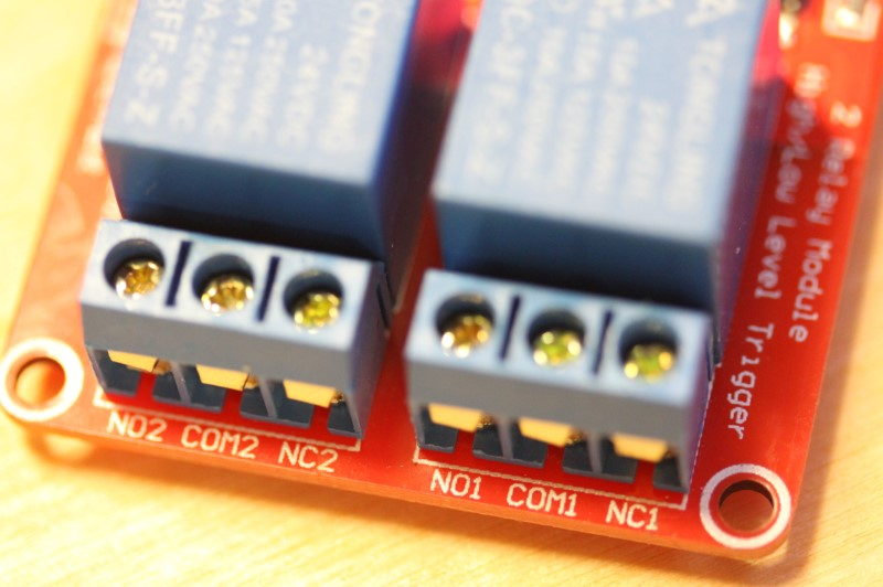 Closeup view of the output side of the 24VDC dual relay module