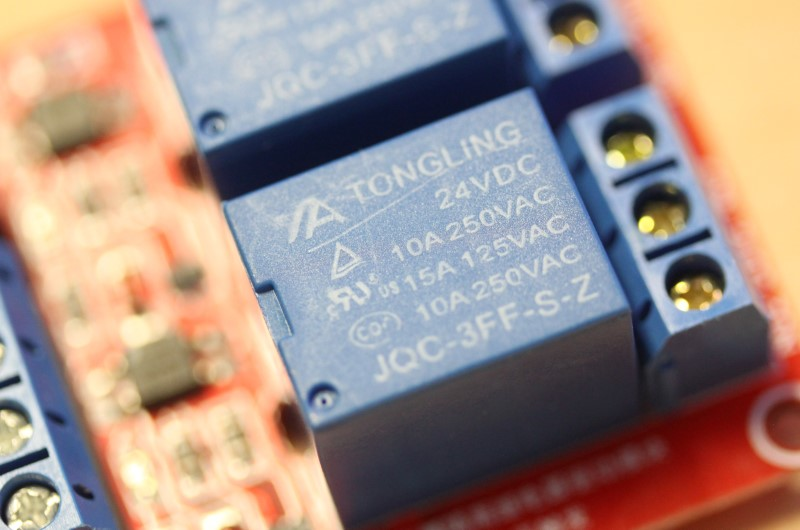 Closeup view of the top of the relay of the 24VDC dual relay module
