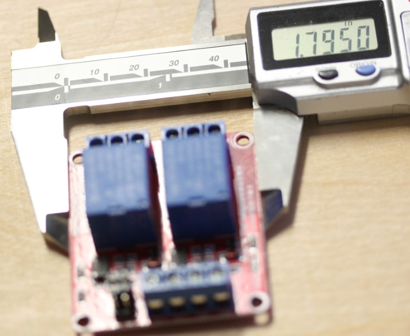 Short dimension of the 24VDC dual relay module at 2 inches