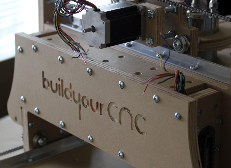 Assembled bluechick cnc machine - back of the gantry