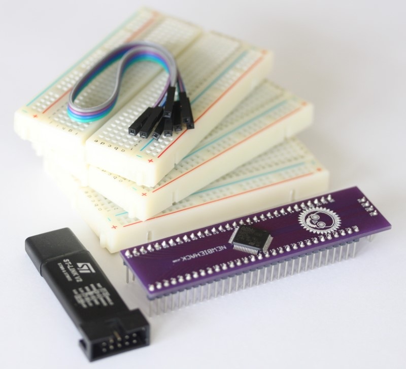 The STM32 ultra basic kit showing all of the components