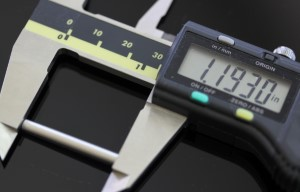 Temperature Sensor shown with a caliper. The measurement reads 1.1930 inches.