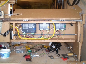 The electronics within the CNC gantry