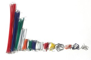 140 piece multi-color multi-size jumper wires for breadboarding.