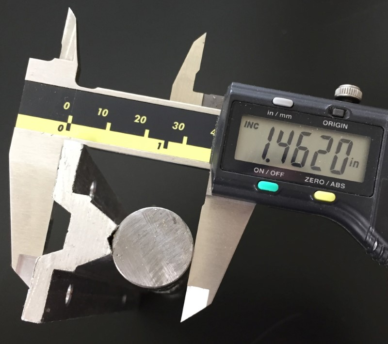 Image of the height of the linear round 20mm rail  at 1.462 inches