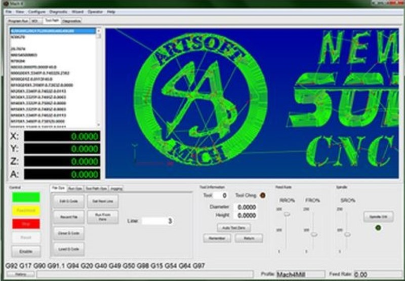 Screenshot of mach4 cnc control program