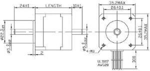 Dimensions for NEMA 14 stepper motor