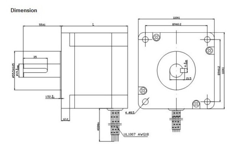 dimensions diagram for the nema 43 1586oz in stepping motor
