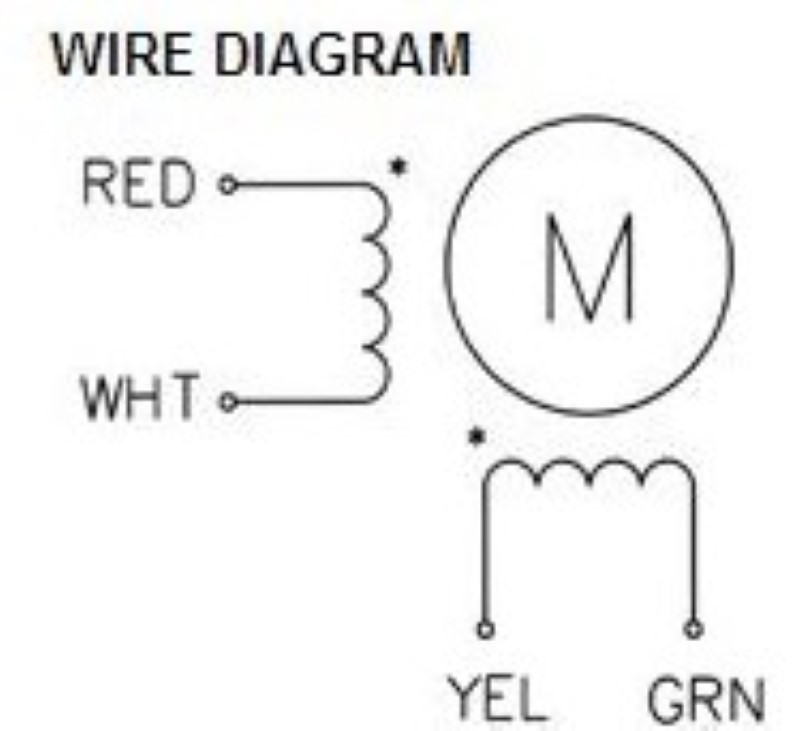 Wiring diagram for the NEMA 43 1586 oz-in stepping motor.