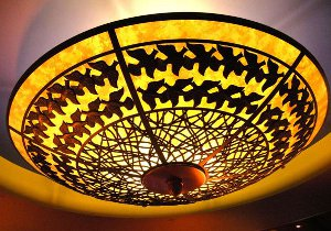A hanging light shade designed with ArtCAM