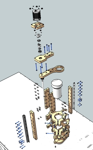 Exploded view of the z-axis assembly of the blackFoot CNC Machine
