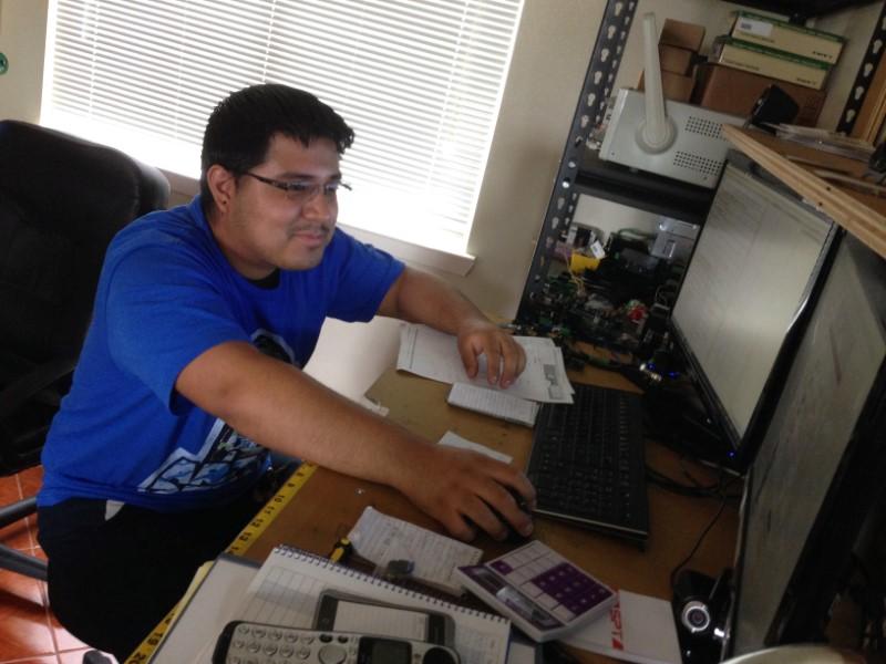 Richard working on his workstation.