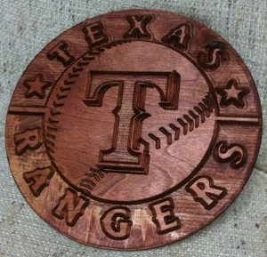 Example plaque of Texas Rangers from the modified blackToe cnc machine
