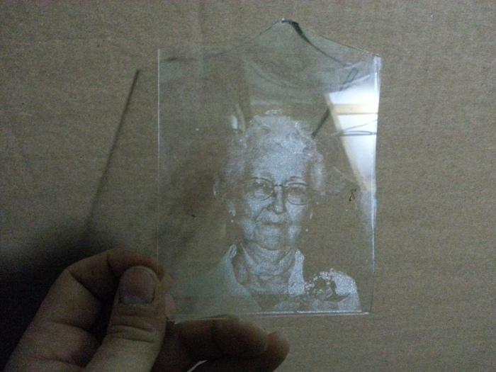 Dustan Webb raster image on glass laser engraving