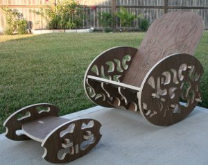 a decorative rocking chair that uses no hardware made with the blackfoot cnc machine