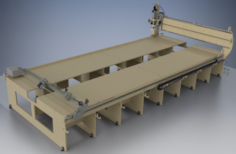 greenBullV2 CNC Router, size: 06x12, angle: flat, f1: no 4th axis, f2: with laser gantry, f3: no laser on head