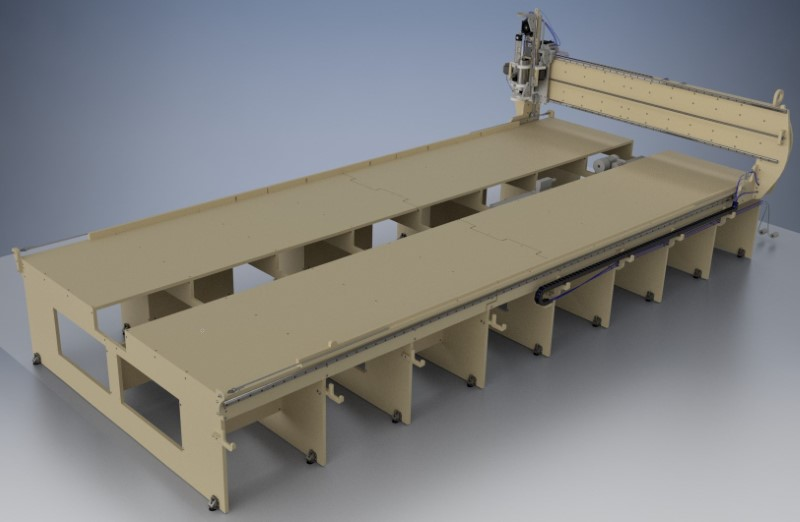 greenBullV2 CNC Router, size: 06x12, angle: flat, f1: with 4th axis, f2: no laser gantry, f3: no laser on head