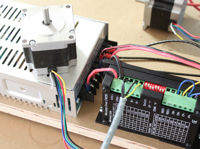 Connect the X-Axis Stepping Motor to the X-Axis Stepping Motor Driver