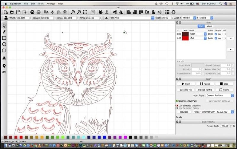 LightBurn Laser Control Software screenshot of an owl artwork design
