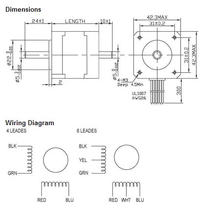 Datasheet for the NEMA 17 62 oz-in Stepping (Stepper) Motor